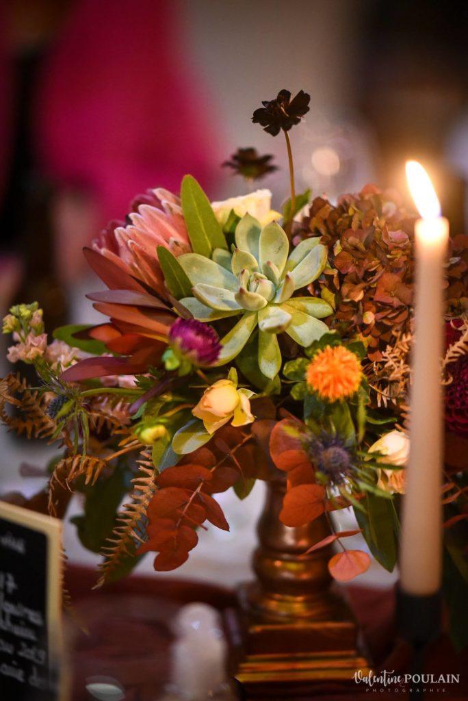Composition de table mariage aux couleurs de l'automne